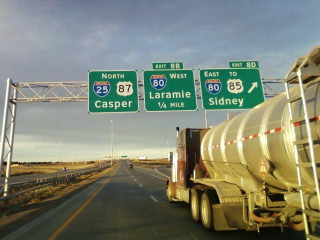 A tank trailer on Interstate 25 at Interstate 80 in Cheyenne, Wyoming
