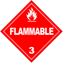 A hazardous materials placard