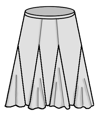 Six-gore skirt with godets