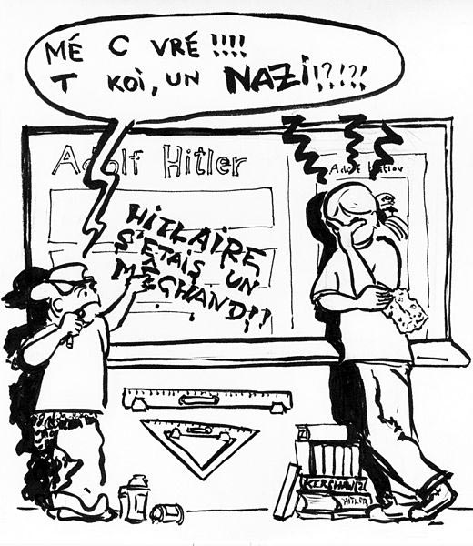 "Comic intended to illustrate the French version of ""Wikipedia:Please do not bite the newcomers"""