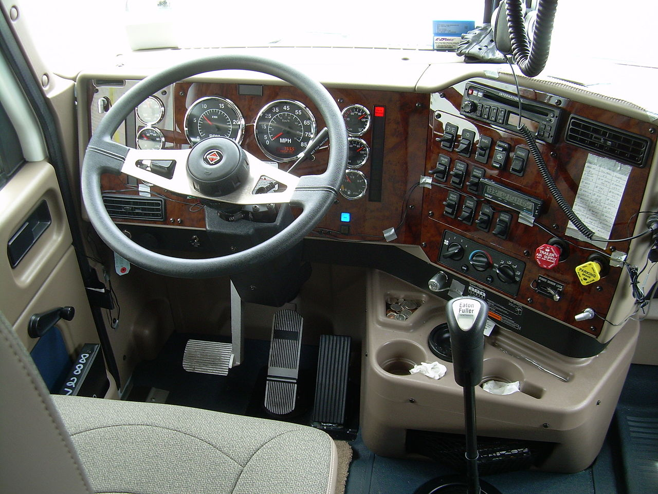 The cab of an 18-wheeler