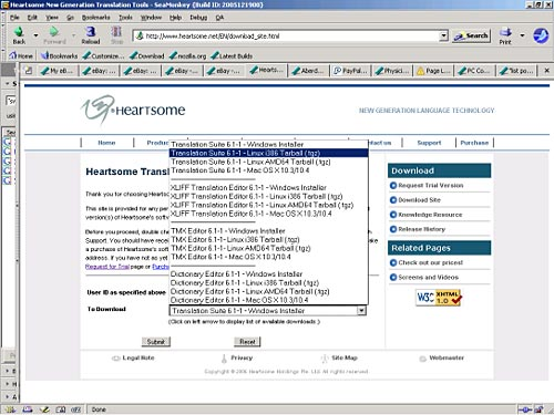 Heartsome Translation Tools Download Site showing pop-up list for selection of package to download with Translation Suite 6.1-1-Linuxi386Tarball(.tgz) selected.