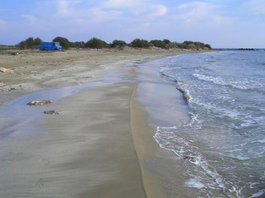 Silver beach, where I've been parked the last few days just north of Gazi Magusa, Turkish side of Cyprus