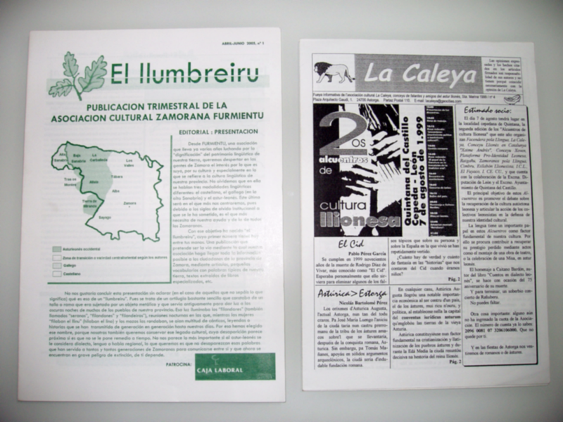 "Newsletters of the cultural associations ""Furmientu"" and ""La Caleya""."