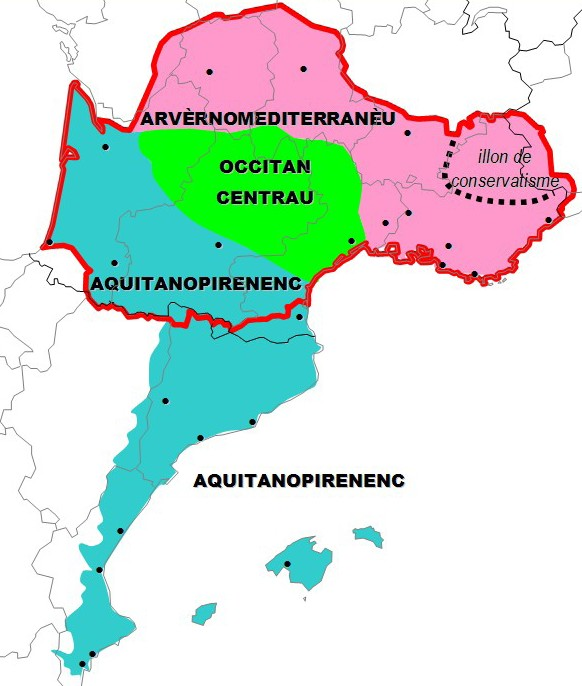 Supradialectal classification of Occitan according to Bec