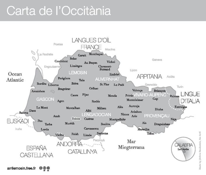 Main cities of Occitan, written in the Occitan language