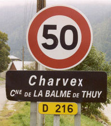 Road sign for Charvex