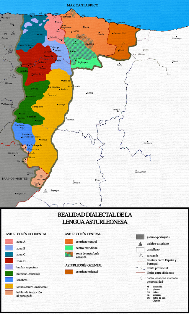 Dialects of Asturian-Leonese.