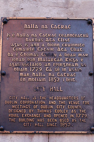 Gaelic script used on an information plaque outside City Hall, near Dublin Castle.
