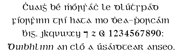Duibhlinn (digital font 1993, based on Monotype Series 24 A, 1906)