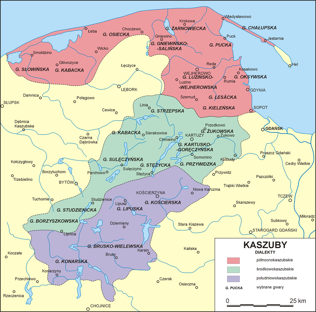 Kashubian dialects area in the early 20th century