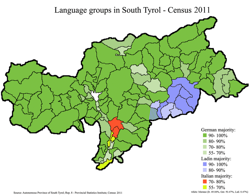 Languages of South Tyrol. Majorities per municipality in 2011