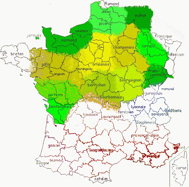 The geographical spread of Picard and Chtimi among the Oïl languages