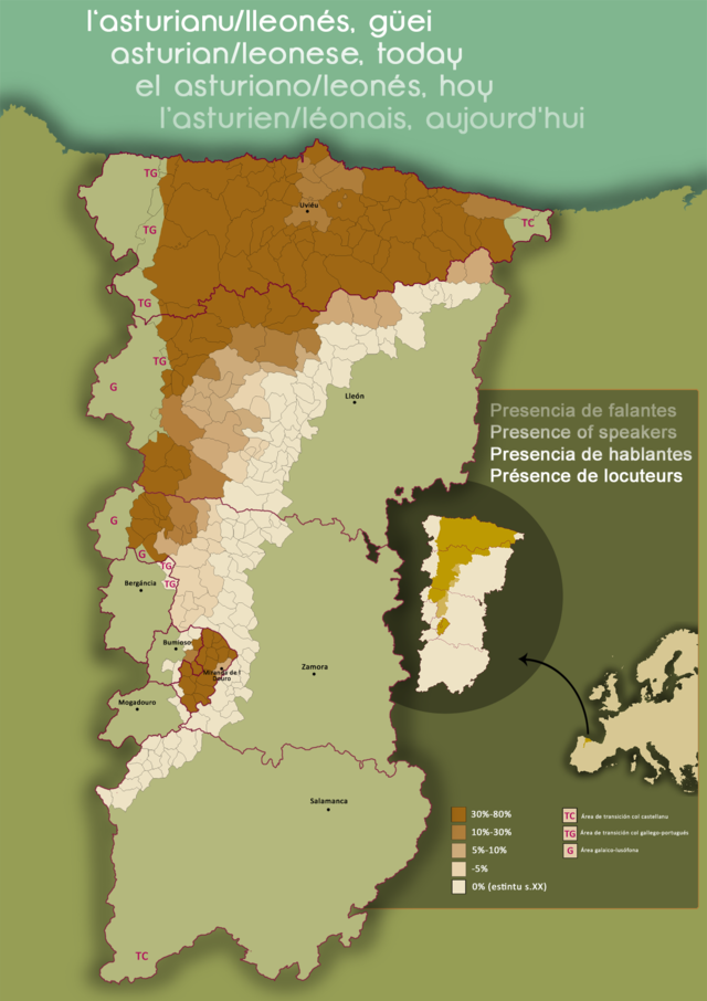 "Percentage of asturleonese speakers according to the collective ""Iniciativa pol Asturianu"""