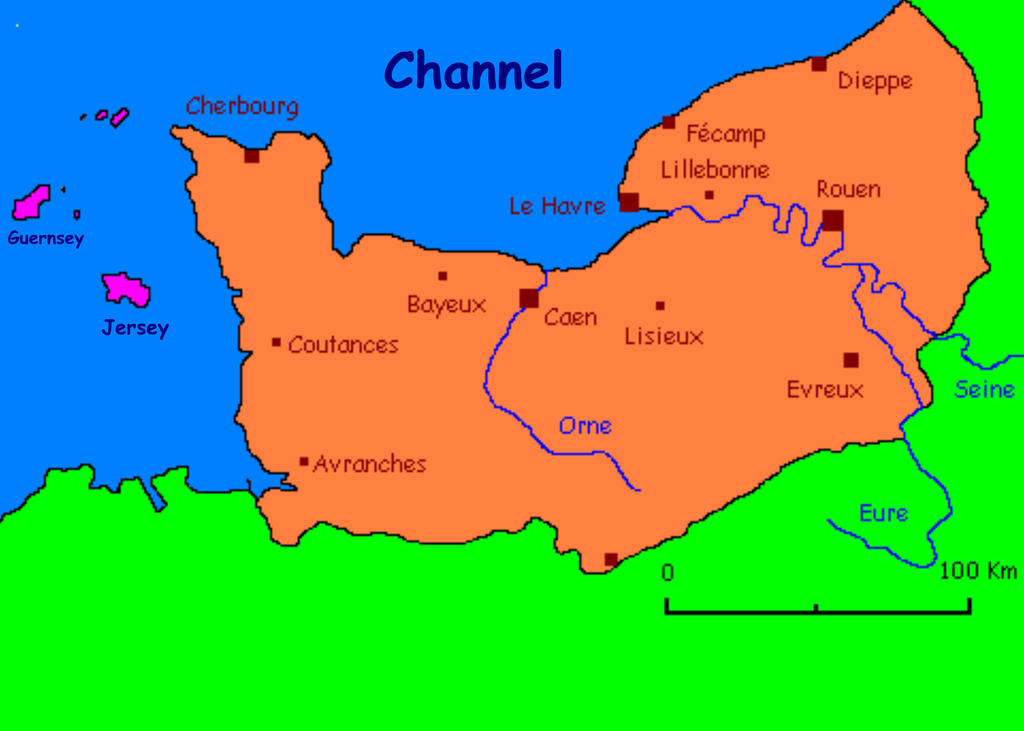 Areas where the Norman language is strongest include Jersey, Guernsey, the Cotentin and the Pays de Caux