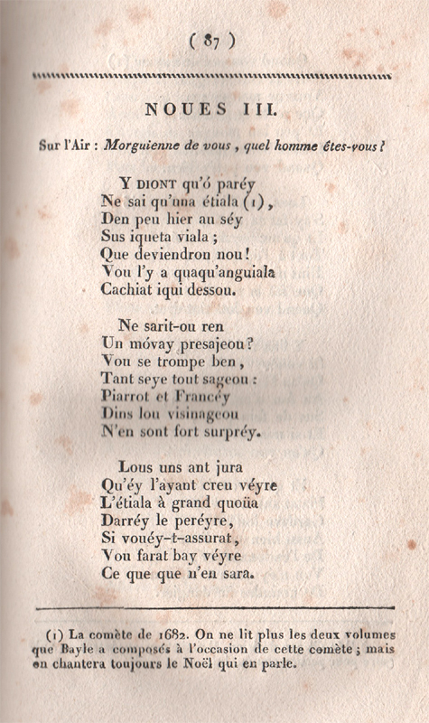 Text of a carol about the appearance of a comet in 1682 by Jean Chapelon
