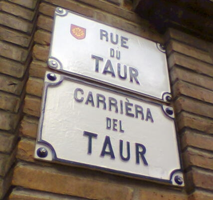 This bilingual street sign in Toulouse, like many such signs found in historical parts of the city, is maintained primarily for its antique charm