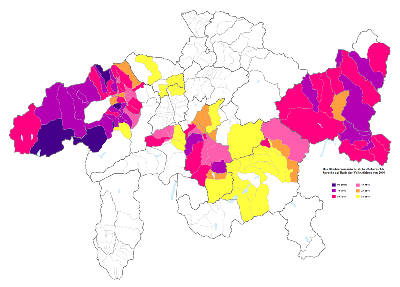 Romansh as the language of best command within the traditional language area in 2000