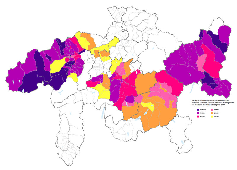 Romansh as a habitually spoken language within the traditional language area in 2000