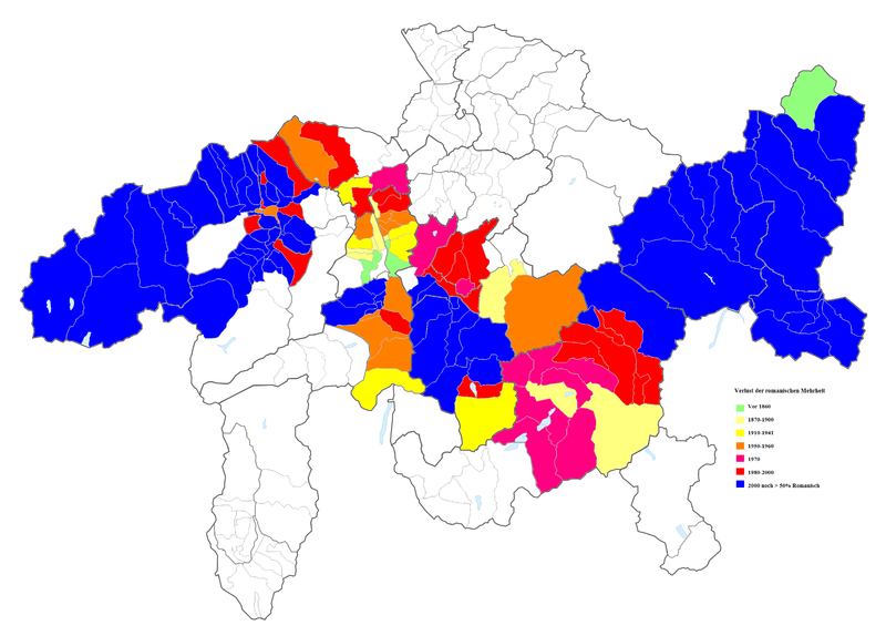 Loss of the Romansh-speaking majority in modern times according to the Swiss censuses
