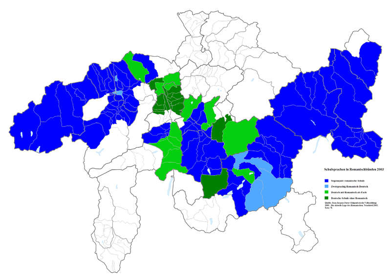 Languages of instruction in the traditionally Romansh-speaking areas of Grisons as of 2003