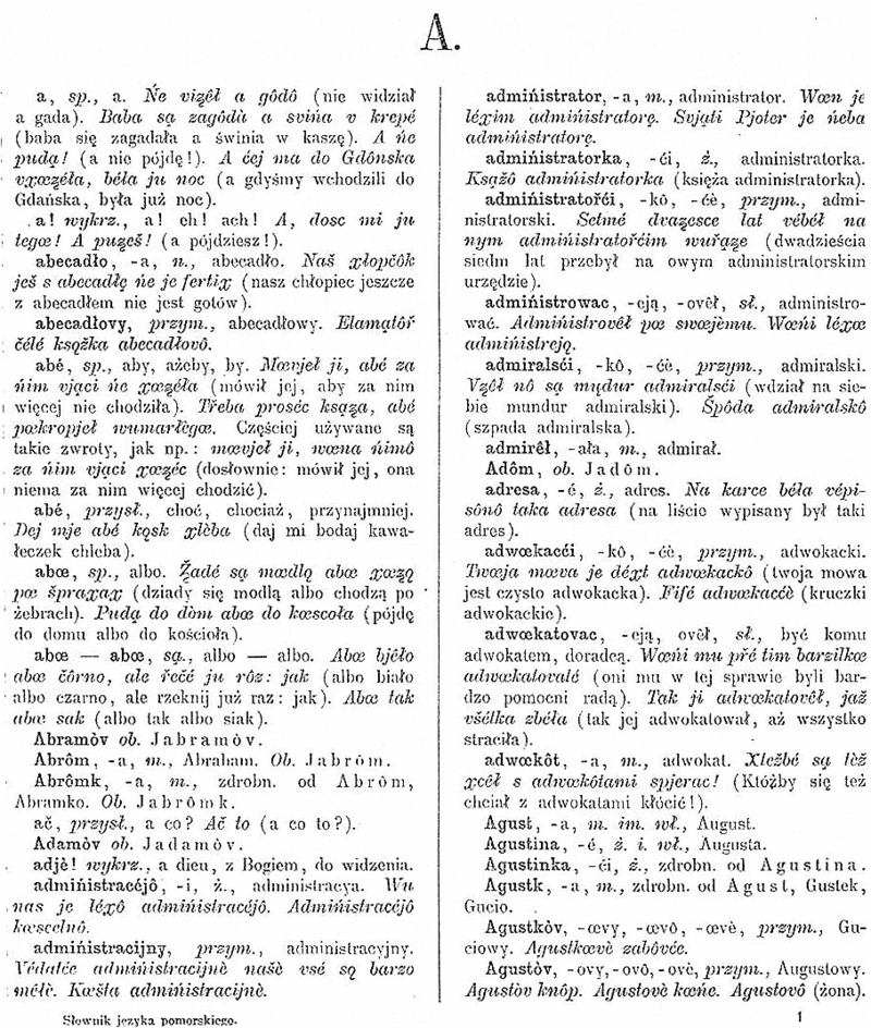 Page of Stefan Ramult Pomeranian (Kashubian language) Dictionary 1893