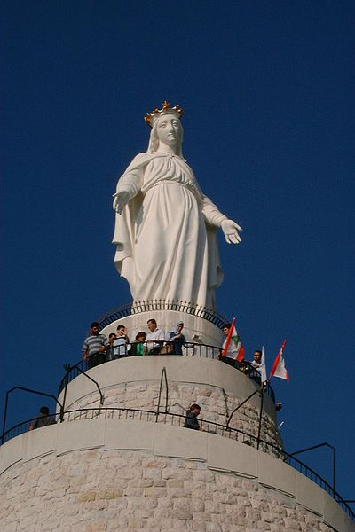 Statue of Our Lady of Lebanon or Notre Dame du Liban.