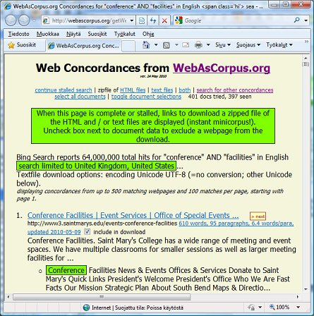 Quick Corpora Compiling. Using Web as Corpus.