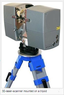 3D-laser-scanner mounted on a tripod