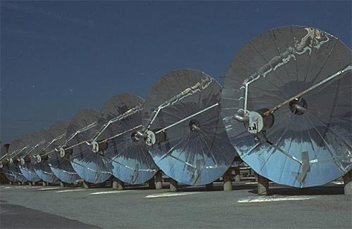 STEP parabolic dishes used for steam production and electrical generation