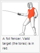 A foil fencer. Valid target (the torso) is in red