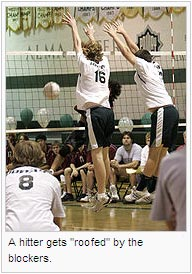 "A hitter gets ""roofed"" by the blockers"