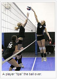 "A player ""tips"" the ball over"