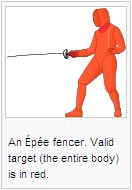 An Épée fencer. Valid target (the entire body) is in red