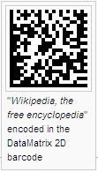 """Wikipedia, the free encyclopedia"" encoded in the DataMatrix 2D barcode"