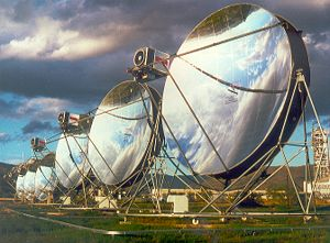 This parabolic dish engine system, which concentrates solar power, is one of many solar energy technologies