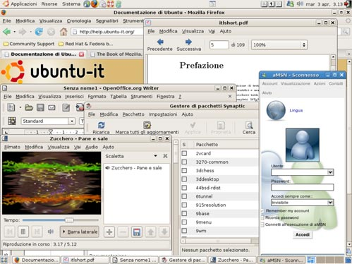 Screenshot of software programs localised to Italian