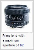 Prime lens with a maximum aperture of f/2