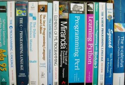 A selection of textbooks that teach programming, in languages both popular and obscure. These are only a few of the thousands of programming languages and dialects that have been designed in history