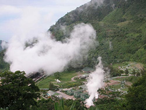 Geothermal power plant in Valencia, Negros Oriental, Philippines