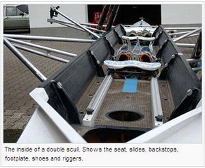 The inside of a double scull. Shows the seat, slides, backstops, footplate, shoes and riggers