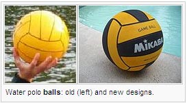 Water polo balls: old (left) and new designs