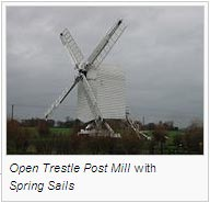 Open Trestle Post Mill with Spring Sails
