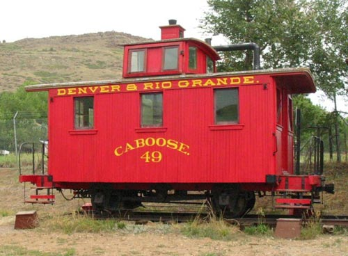 "A ""Bobber"" 4-wheel caboose of the Denver & Rio Grande Railroad preserved at the Colorado Railroad Museum, Golden, Colorado"