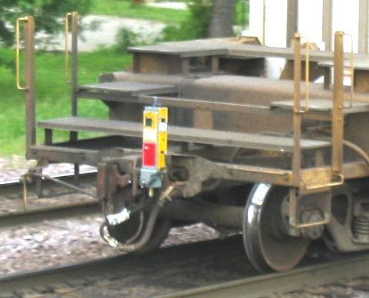 A FRED mounted on a container train