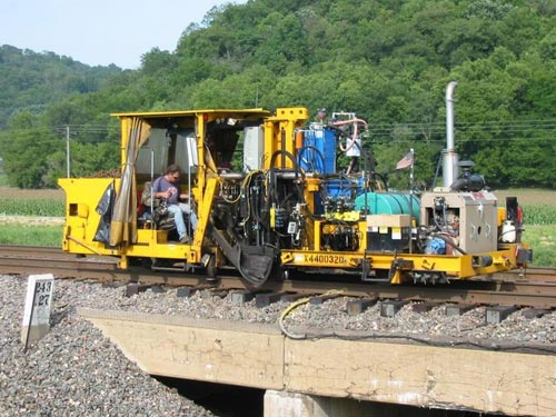 Railroad Track Maintenance Vehicles on broken connecting rod