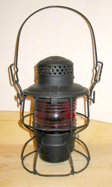 A brakeman's lantern from the Chicago and North Western Railway; this lantern burned kerosene to produce light