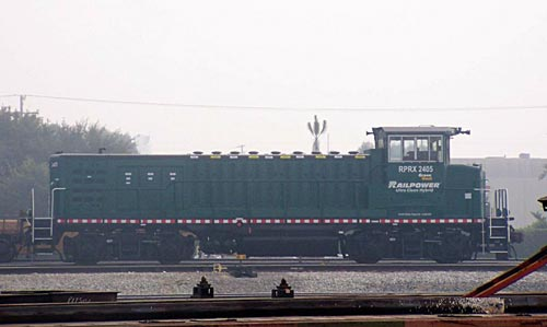 A demonstrator Green Goat locomotive