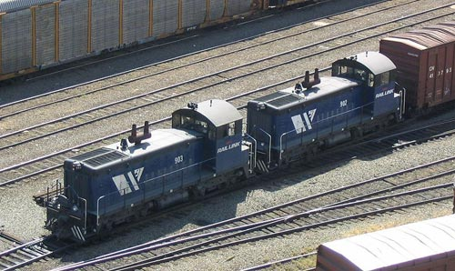 A pair of EMD SW900 switchers