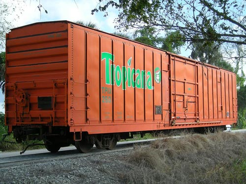 A preserved refrigerator car that was used on the Juice Train